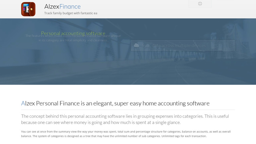 Alzex Personal Finance Landing Page