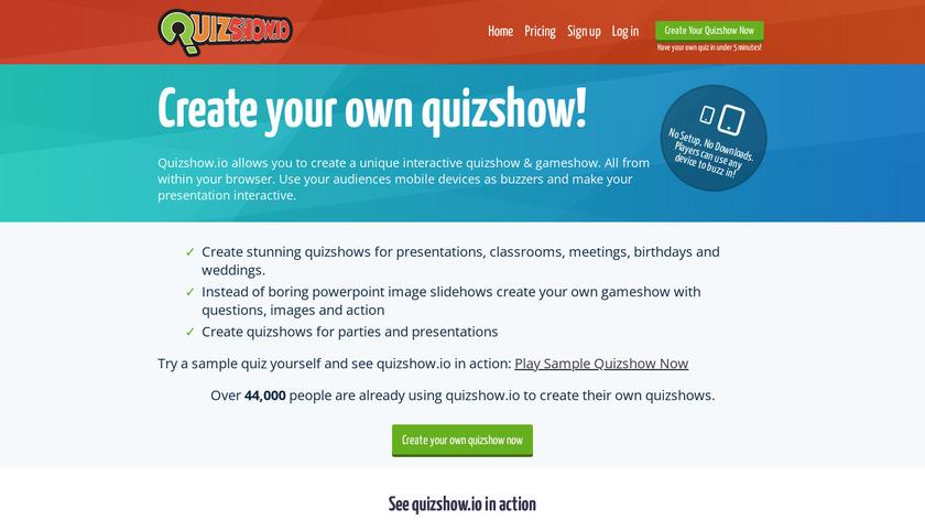 quizshow.io Landing Page