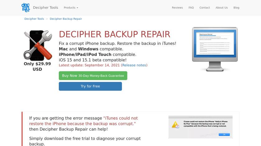 Decipher Backup Repair Landing Page