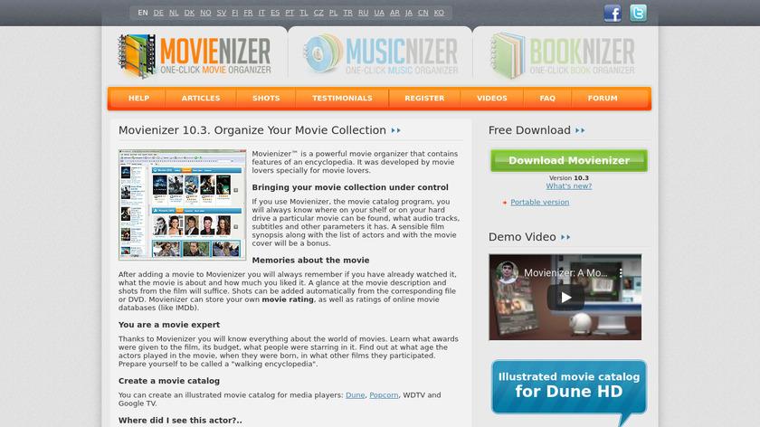 Movienizer Landing Page