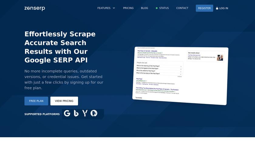 Zenserp Landing Page