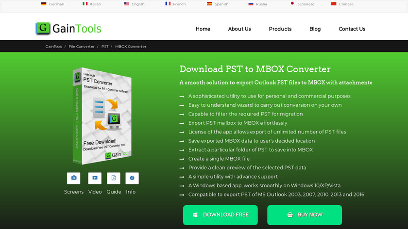 GainTools PST to MBOX Converter Landing Page
