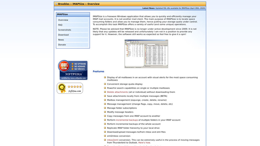 IMAPSize Landing Page