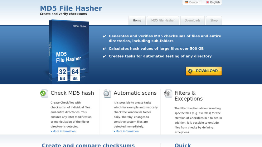 MD5 File Hasher Landing Page