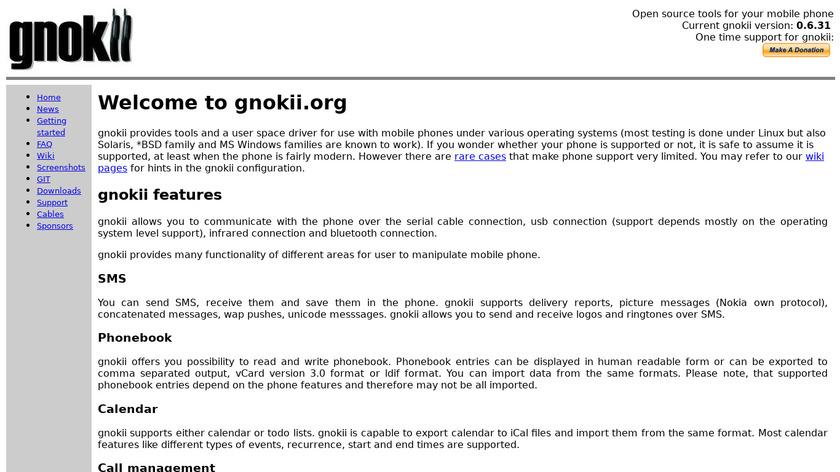 gnokii Landing Page