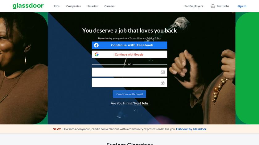 Glassdoor Jobs Landing Page