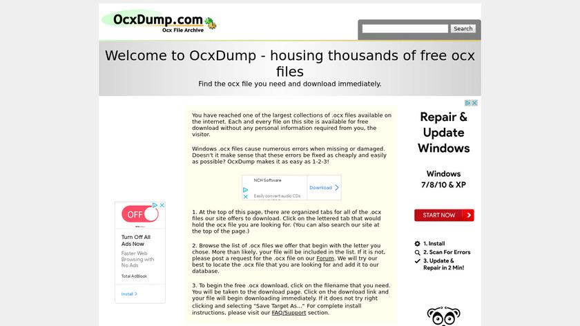 OcxDump.com Landing Page