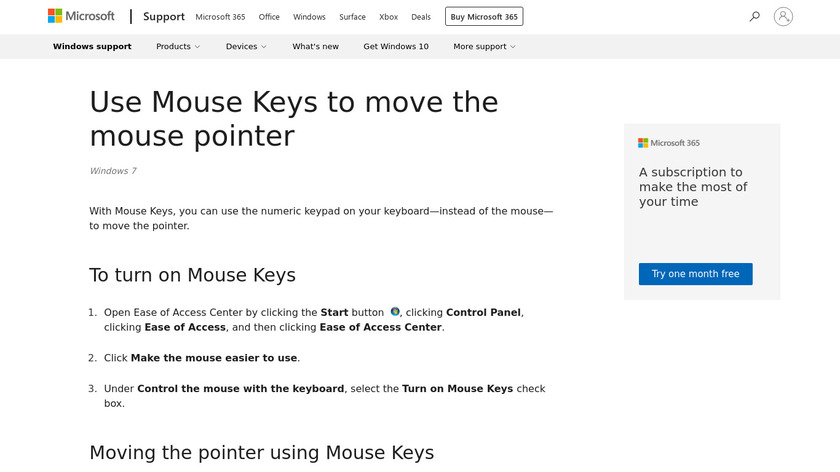 Microsoft Windows Mouse Keys Landing Page
