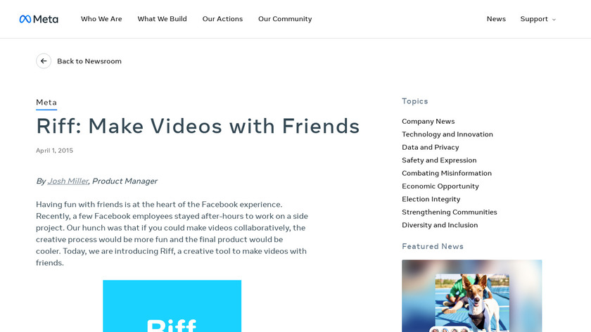 Riff by Facebook Landing Page