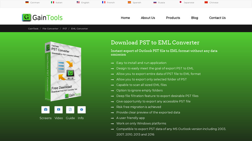 GainTools PST to EML Converter Landing Page
