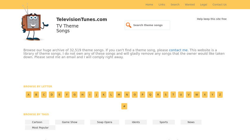 TelevisionTunes.com Landing Page