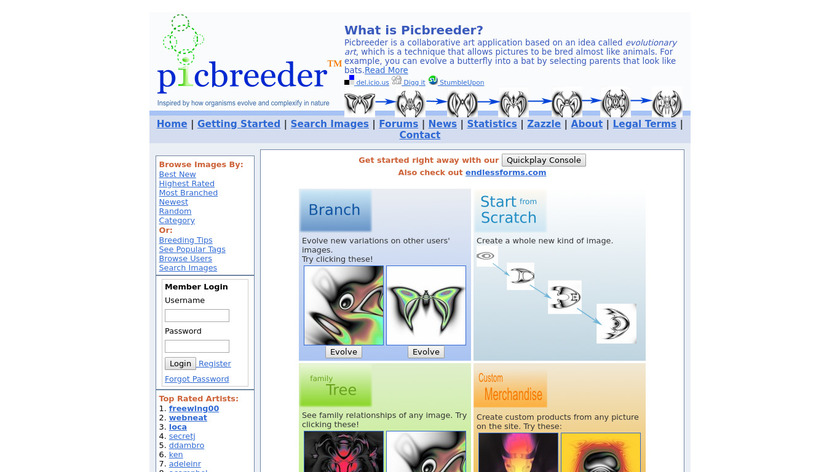 Picbreeder Landing Page