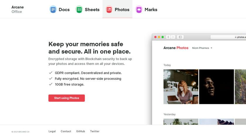 Arcane Photos Landing Page