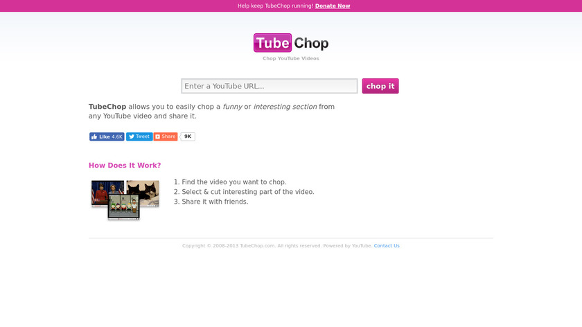 TubeChop Landing Page