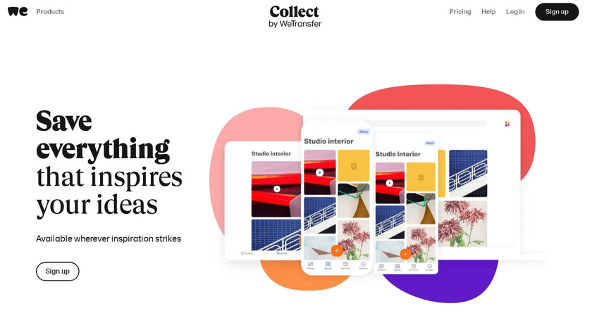 Collect by WeTransfer Landing Page