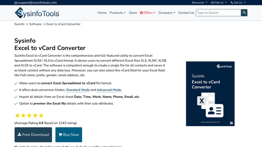 SysInfo Excel to vCard Landing Page