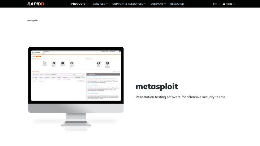 Rapid7 MetaSploit Landing Page
