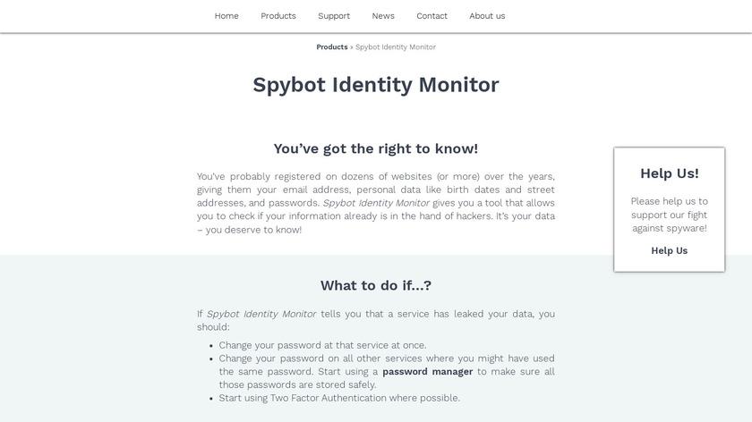 Spybot Identity Monitor Landing Page