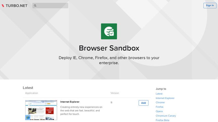 Turbo Browser Sandbox Landing Page