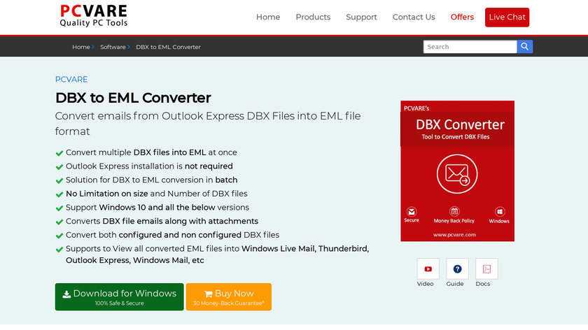 PCVARE DBX to EML Converter Landing Page