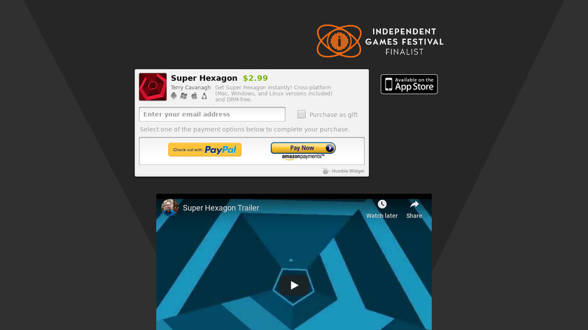 Super Hexagon Landing Page