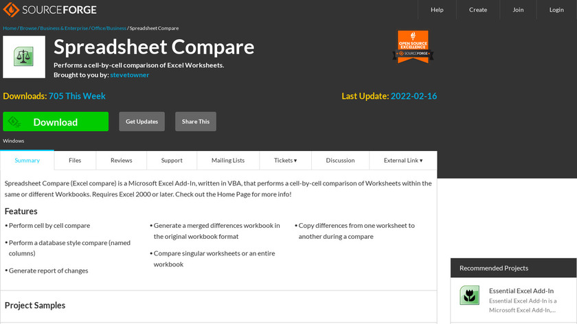Spreadsheet Compare Landing Page