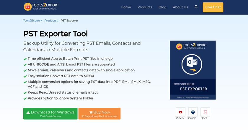 ToolstoExport PST Exporter Landing Page