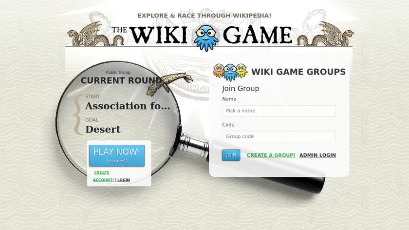 the Wiki Game Landing Page