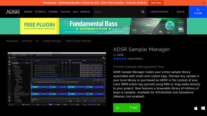 ADSR Sample Manager Landing Page