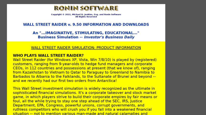 Wall Street Raider Landing Page