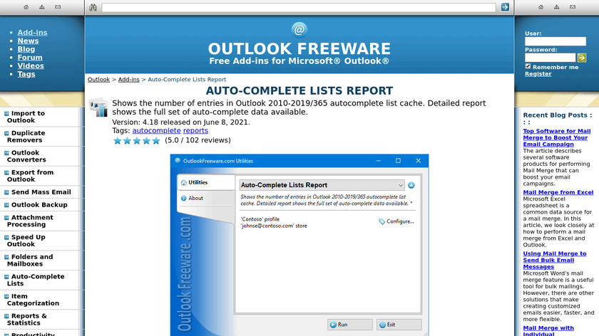 Auto-Complete Lists Report for Outlook Landing Page