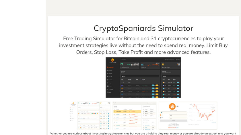 CryptoSpaniards Simulator Landing Page