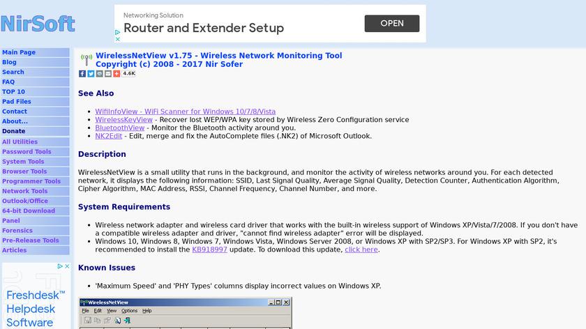 WirelessNetView Landing Page