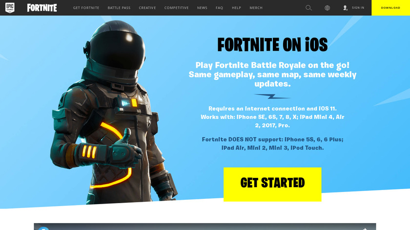Fortnite for iOS Landing Page