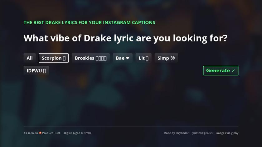 Drake Captions Landing Page