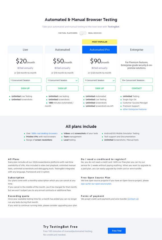 TestingBot Pricing