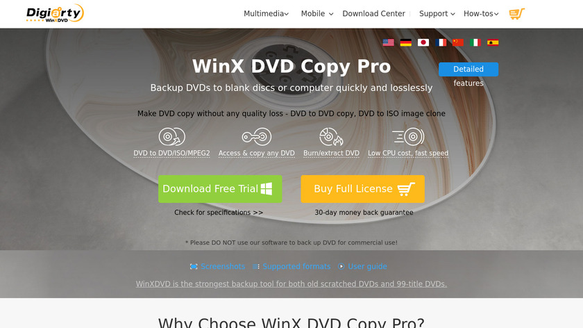 WinX DVD Copy Pro Landing Page