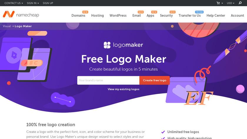 NameCheap Logo Maker Landing Page
