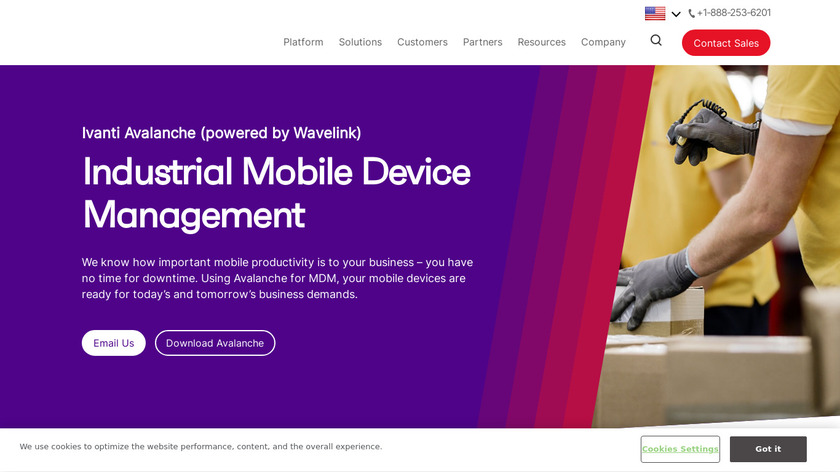 Wavelink Avalanche Landing Page