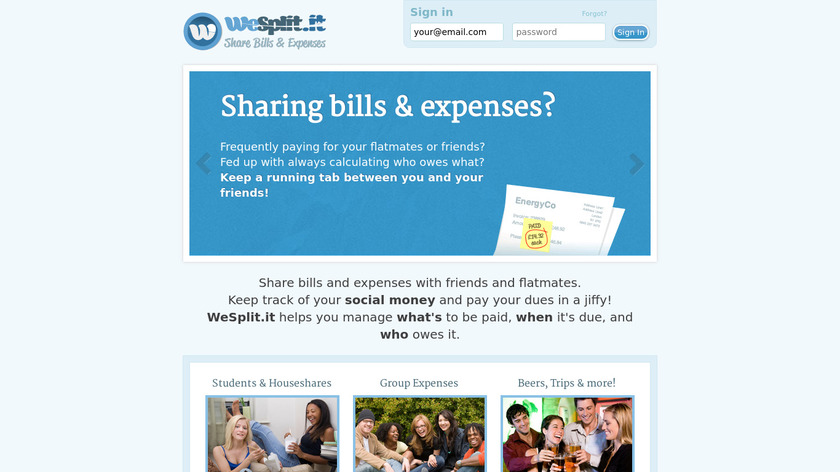 WeSplit.it Landing Page