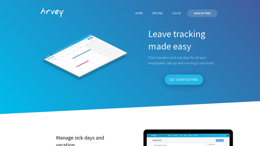 Hrvey Landing Page