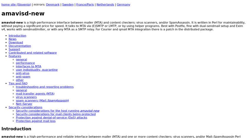amavisd-new Landing Page