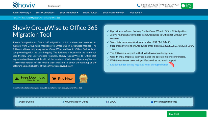 Shoviv GroupWise to Office 365 Landing Page