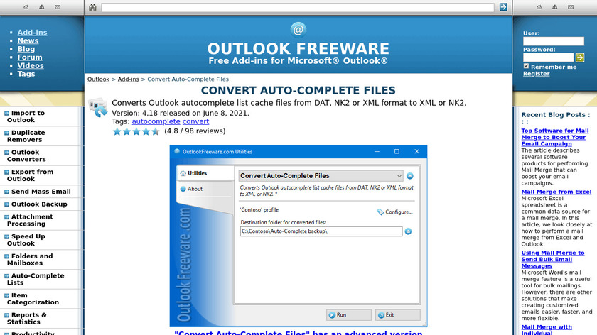 Convert Auto-Complete Files for Outlook Landing Page