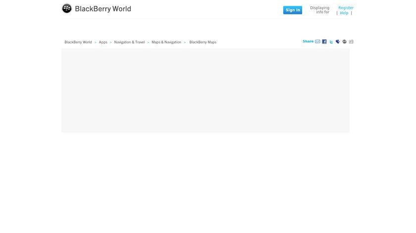 BlackBerry Maps Landing Page
