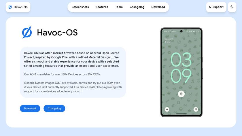 Havoc-OS Landing Page