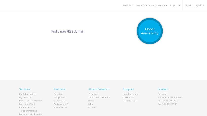Freenom Landing Page