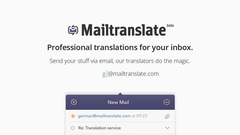 Mailtranslate Landing Page