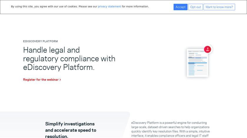 Veritas eDiscovery Platform Landing Page