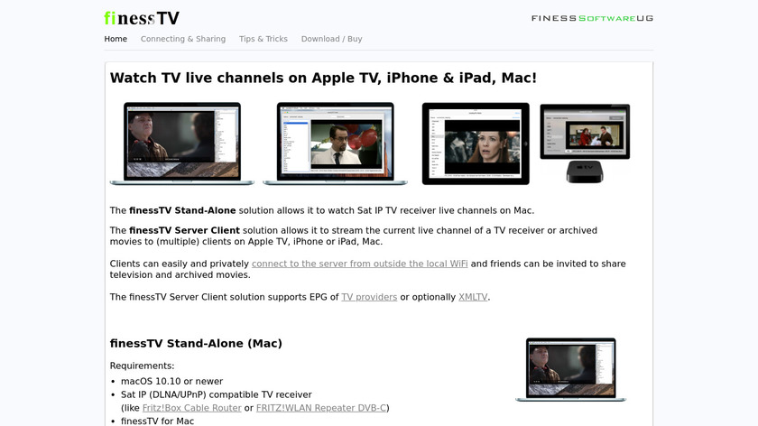 finessTV Landing Page